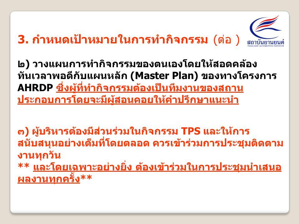 3. กำหนดเป้าหมายในการทำกิจกรรม (ต่อ )