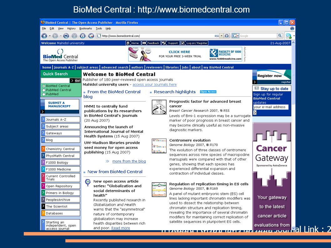 BioMed Central : http://www.biomedcentral.com