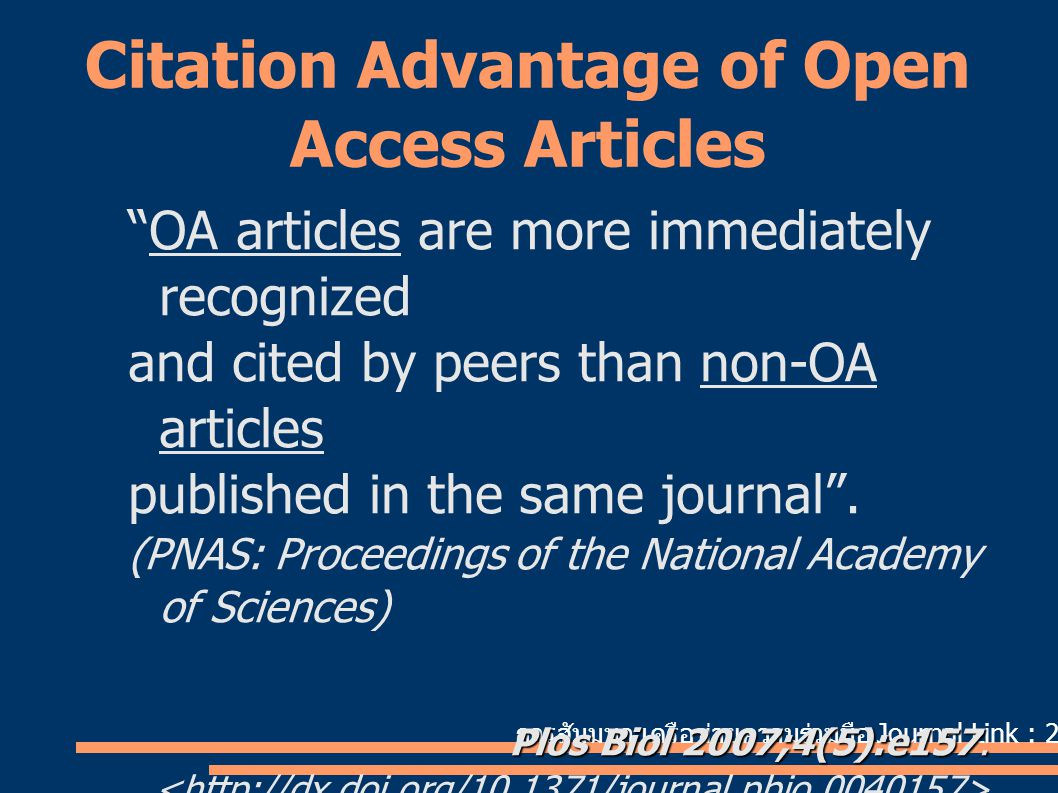Citation Advantage of Open Access Articles