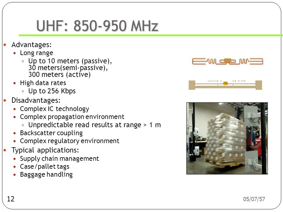 Railcar = รถร่าง UHF: 850-950 MHz Advantages: Disadvantages: