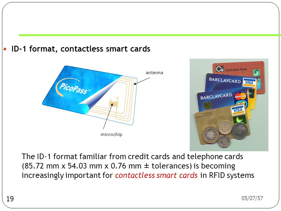 ID-1 format, contactless smart cards