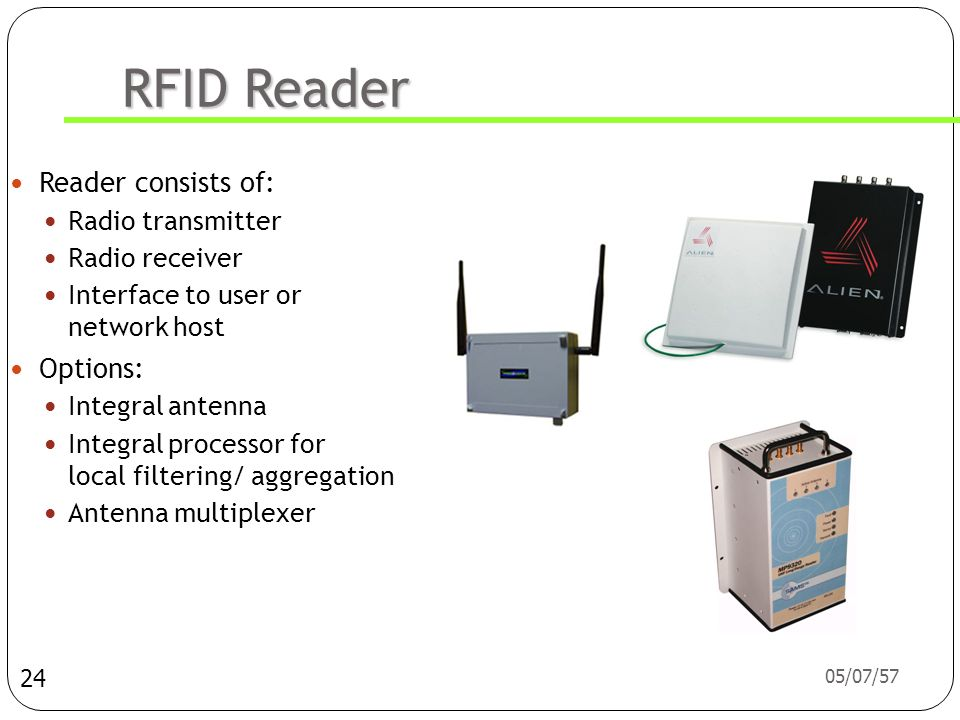 RFID Reader Reader consists of: Options: Radio transmitter