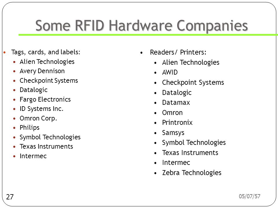 Some RFID Hardware Companies