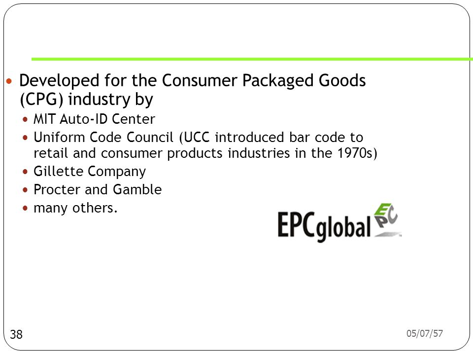 Developed for the Consumer Packaged Goods (CPG) industry by