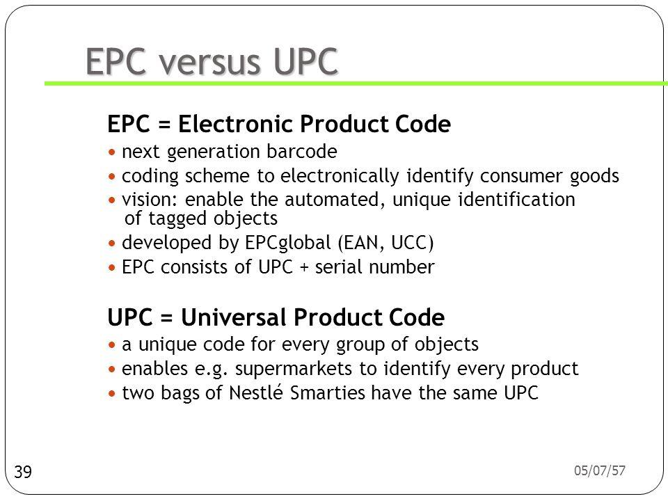 EPC versus UPC EPC = Electronic Product Code