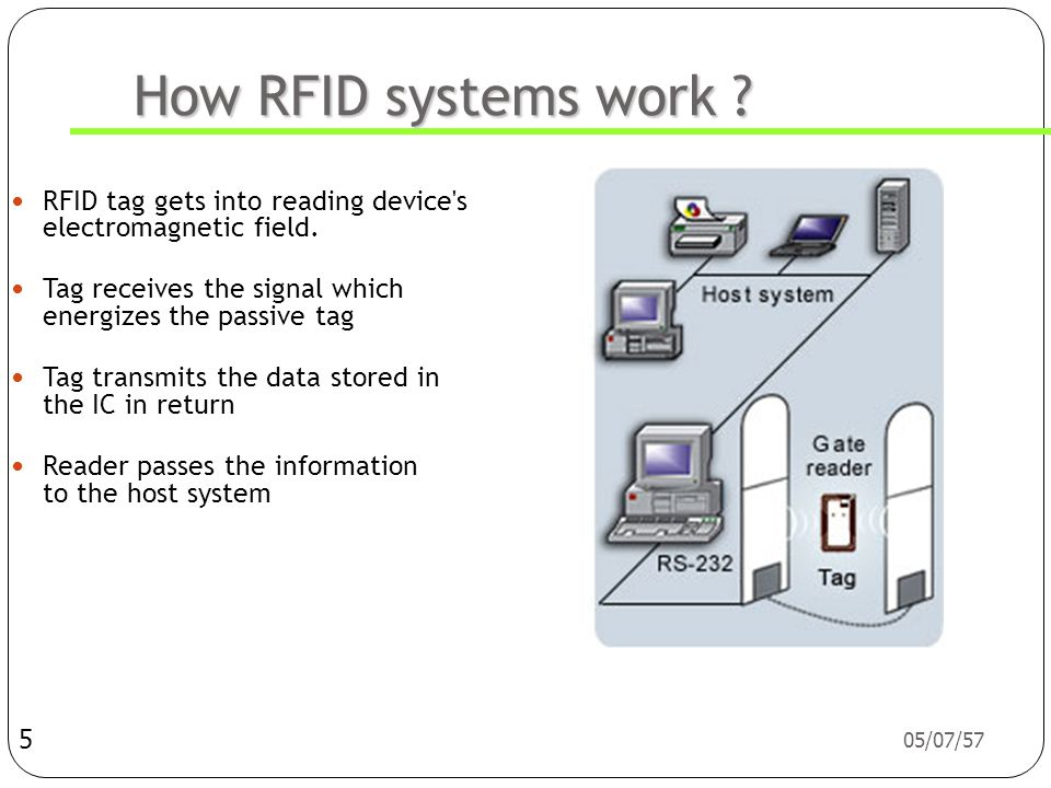 How RFID systems work RFID tag gets into reading device s electromagnetic field. Tag receives the signal which energizes the passive tag.