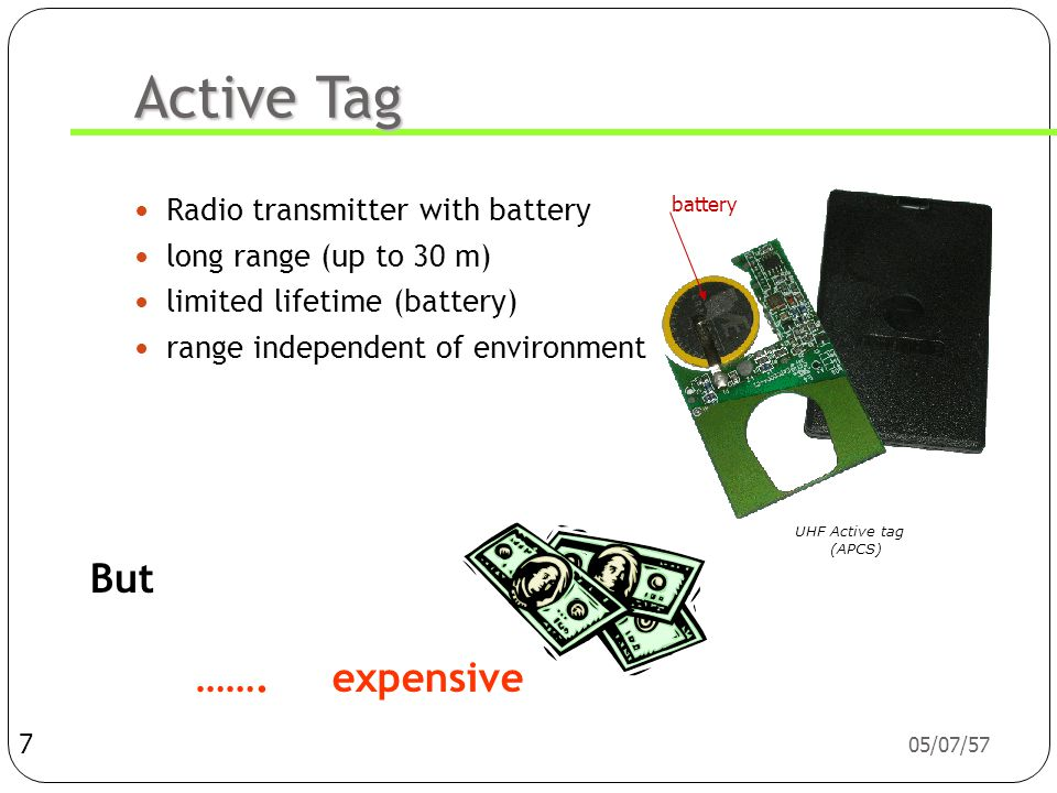 Active Tag But ……. expensive Radio transmitter with battery