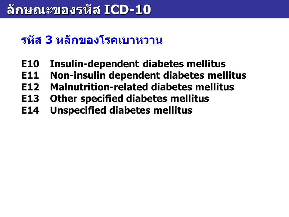 ลักษณะของรหัส ICD-10 รหัส 3 หลักของโรคเบาหวาน