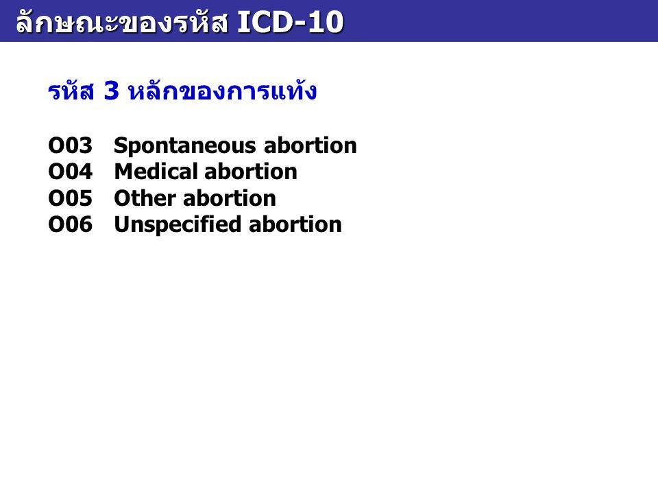 ลักษณะของรหัส ICD-10 รหัส 3 หลักของการแท้ง O03 Spontaneous abortion
