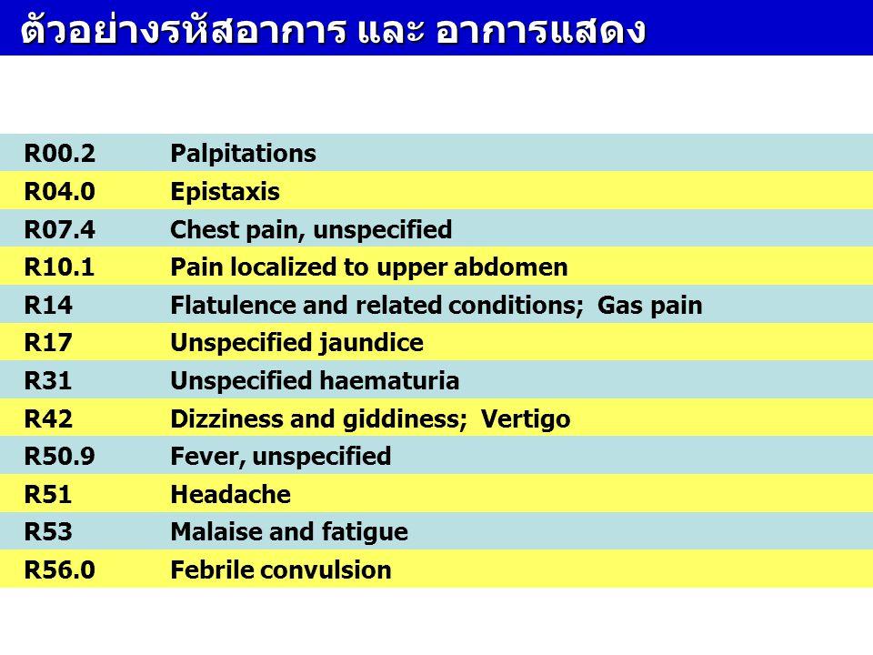 ตัวอย่างรหัสอาการ และ อาการแสดง