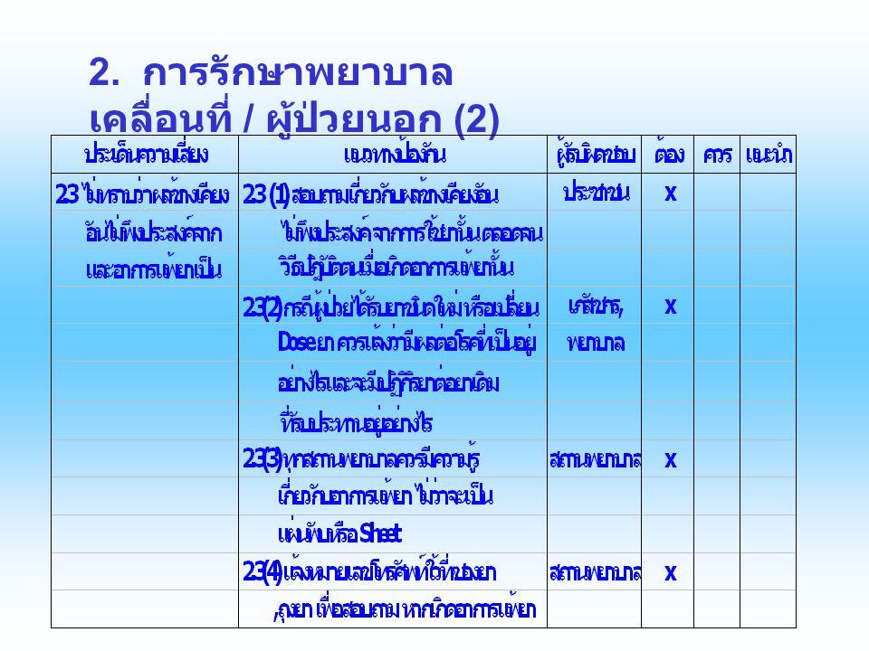 2. การรักษาพยาบาลเคลื่อนที่ / ผู้ป่วยนอก (2)