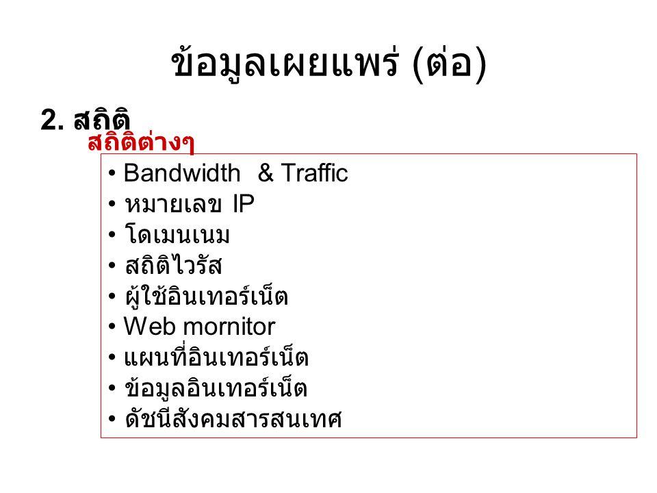 ข้อมูลเผยแพร่ (ต่อ) 2. สถิติ สถิติต่างๆ Bandwidth & Traffic หมายเลข IP
