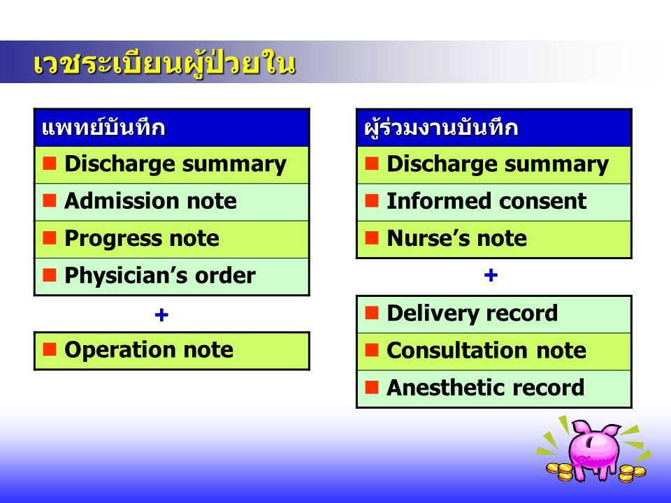 เวชระเบียนผู้ป่วยใน + + แพทย์บันทึก  Discharge summary