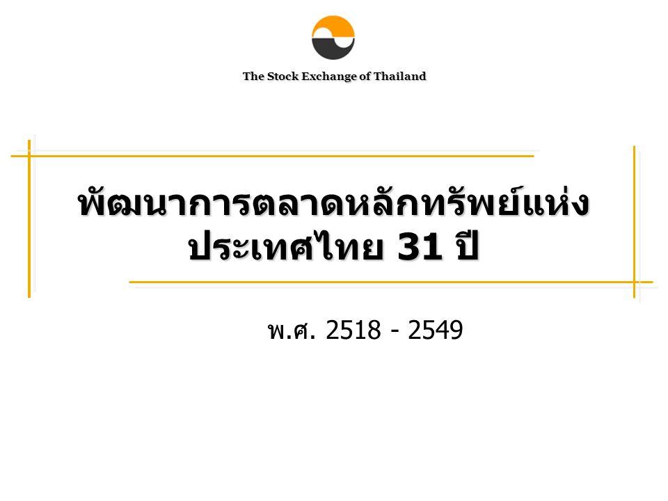พัฒนาการตลาดหลักทรัพย์แห่งประเทศไทย 31 ปี
