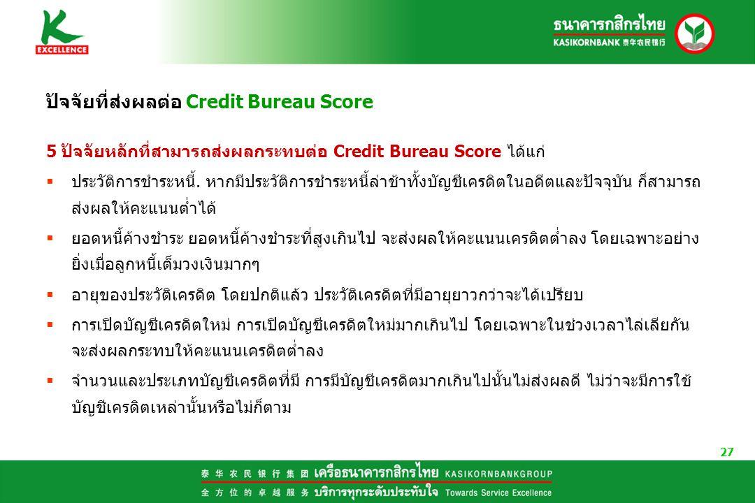 ปัจจัยที่ส่งผลต่อ Credit Bureau Score