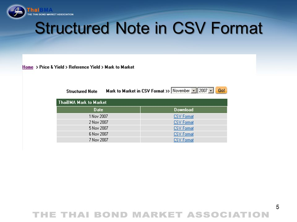 Structured Note in CSV Format