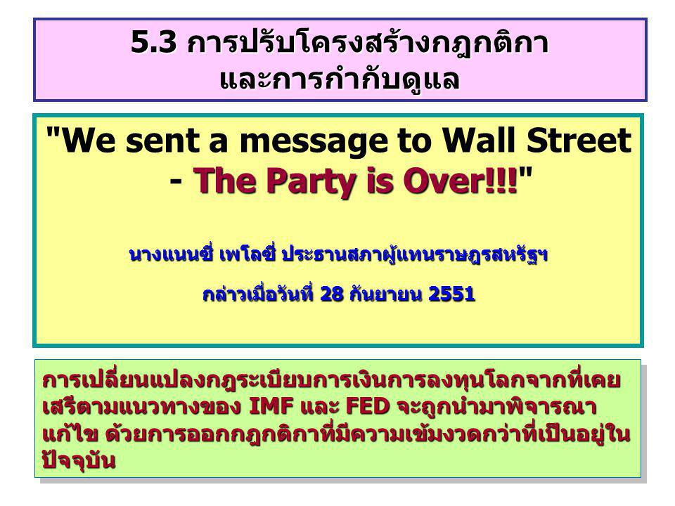 We sent a message to Wall Street - The Party is Over!!!
