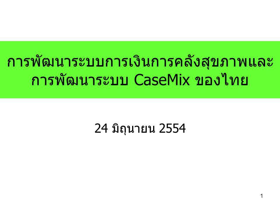 การพัฒนาระบบการเงินการคลังสุขภาพและ การพัฒนาระบบ CaseMix ของไทย