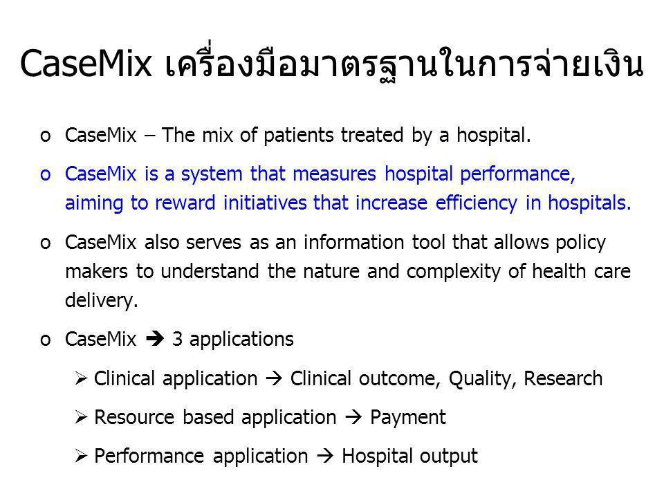 CaseMix เครื่องมือมาตรฐานในการจ่ายเงิน