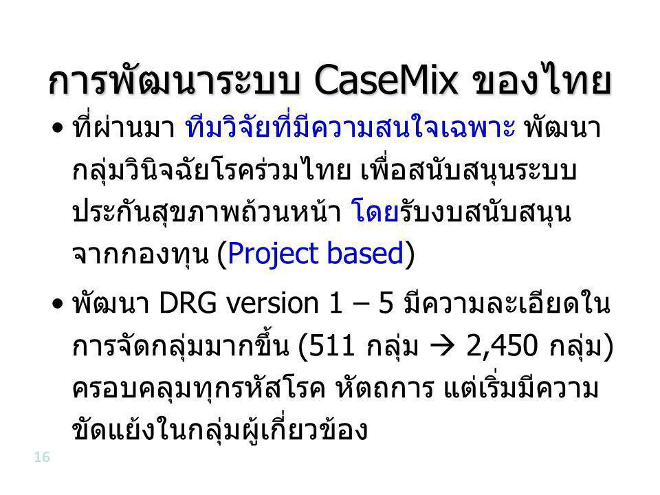 การพัฒนาระบบ CaseMix ของไทย