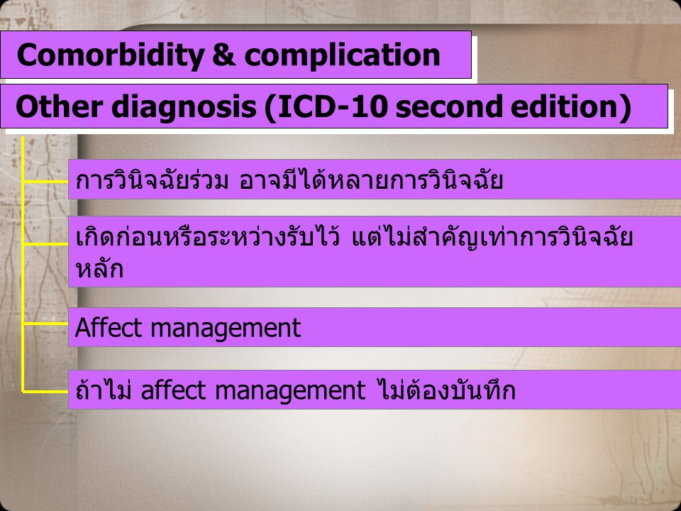 Comorbidity & complication