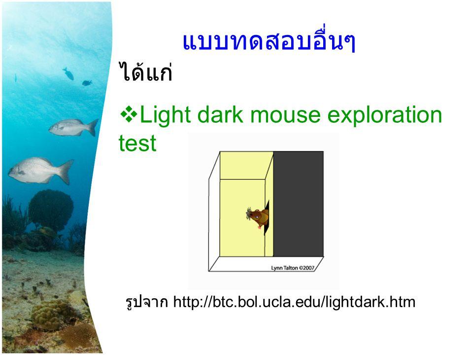 แบบทดสอบอื่นๆ ได้แก่ Light dark mouse exploration test