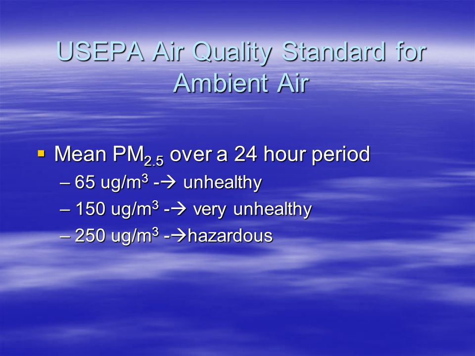 USEPA Air Quality Standard for Ambient Air