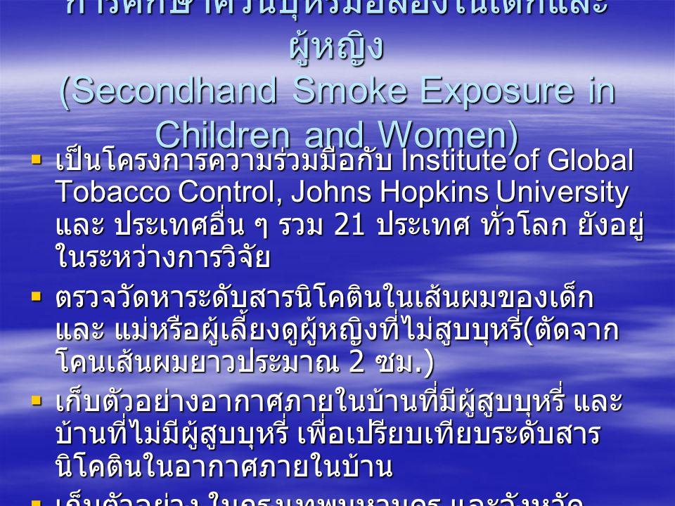 การศึกษาควันบุหรี่มือสองในเด็กและผู้หญิง (Secondhand Smoke Exposure in Children and Women)