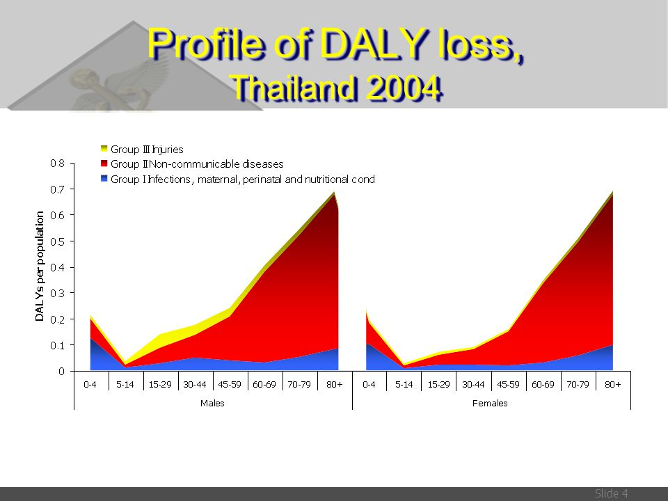 Profile of DALY loss, Thailand 2004
