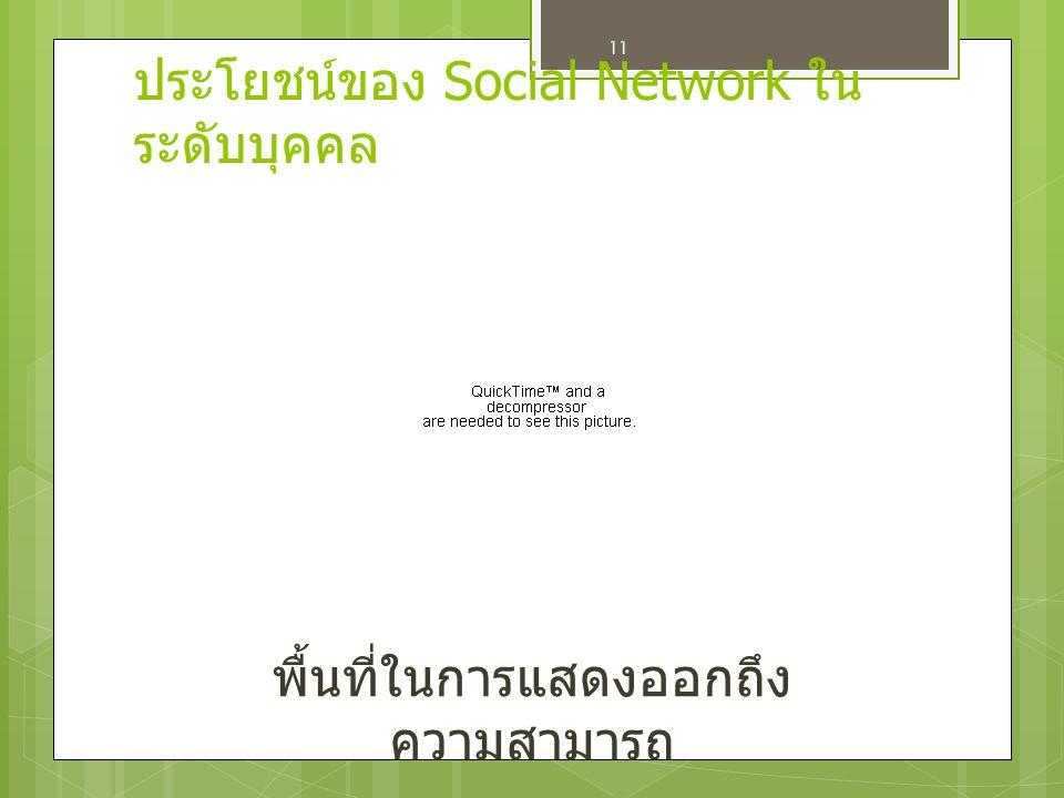 ประโยชน์ของ Social Network ในระดับบุคคล