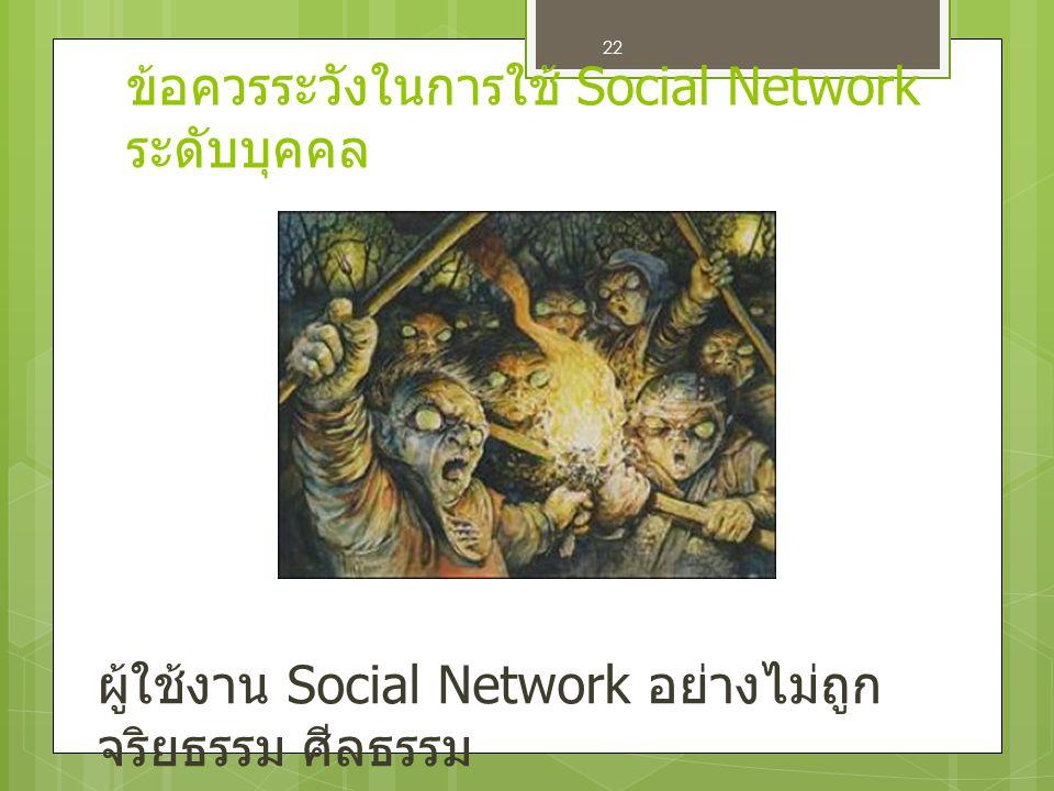 ข้อควรระวังในการใช้ Social Network ระดับบุคคล