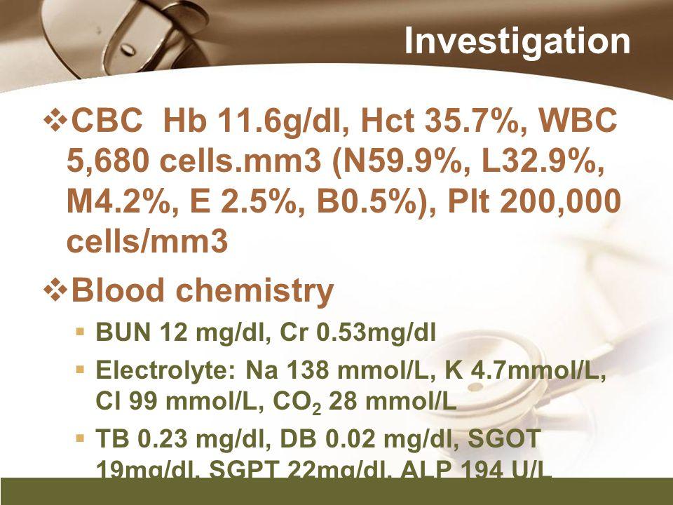 Investigation CBC Hb 11.6g/dl, Hct 35.7%, WBC 5,680 cells.mm3 (N59.9%, L32.9%, M4.2%, E 2.5%, B0.5%), Plt 200,000 cells/mm3.
