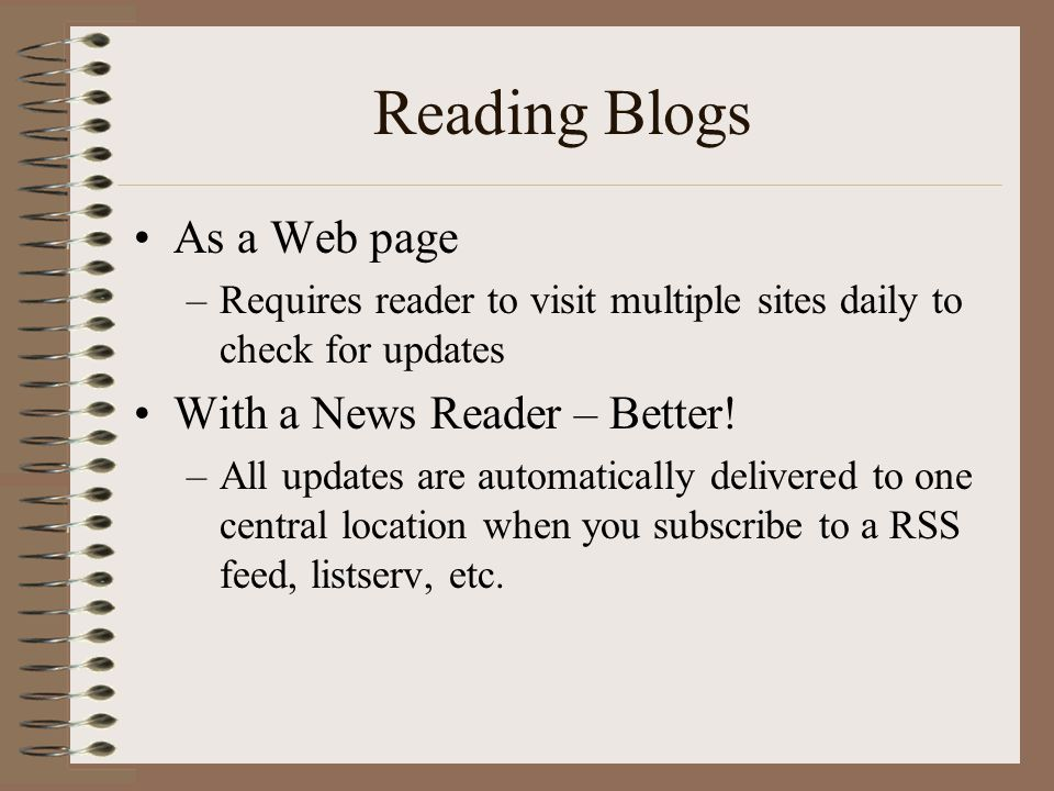 Reading Blogs As a Web page With a News Reader – Better!