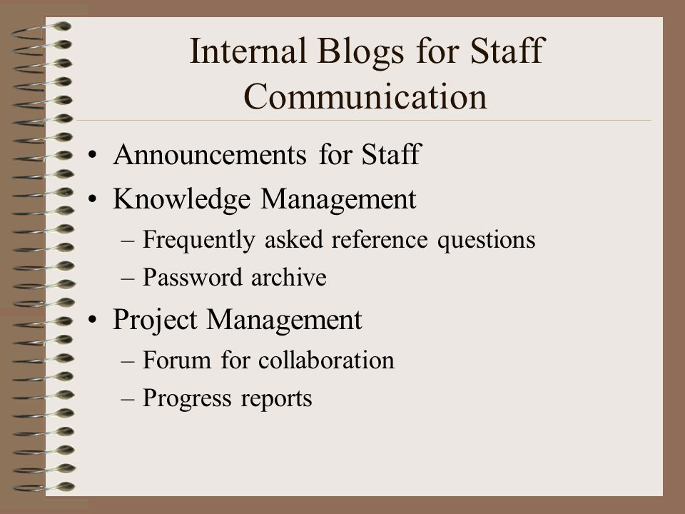 Internal Blogs for Staff Communication