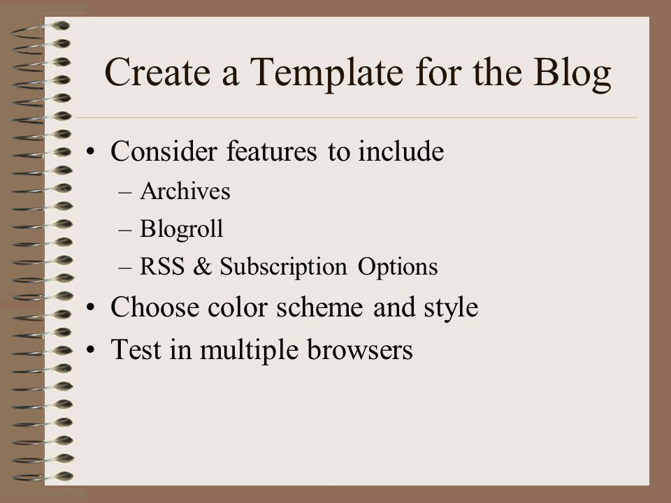 Create a Template for the Blog