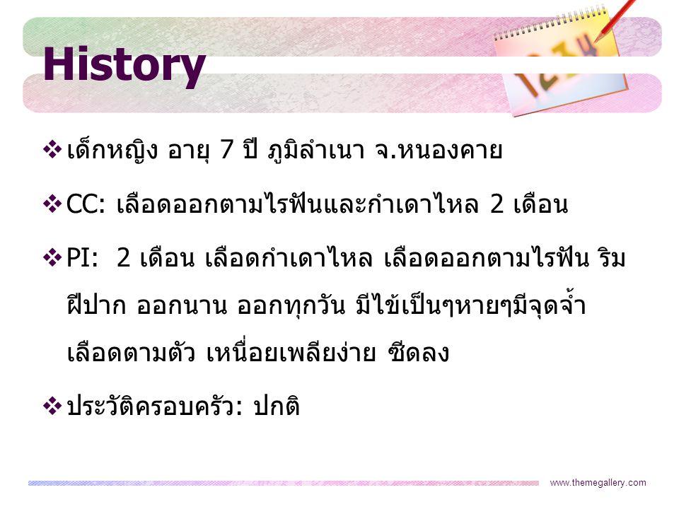 History เด็กหญิง อายุ 7 ปี ภูมิลำเนา จ.หนองคาย
