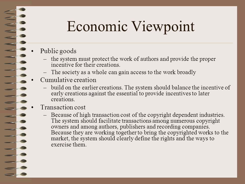Economic Viewpoint Public goods Cumulative creation Transaction cost