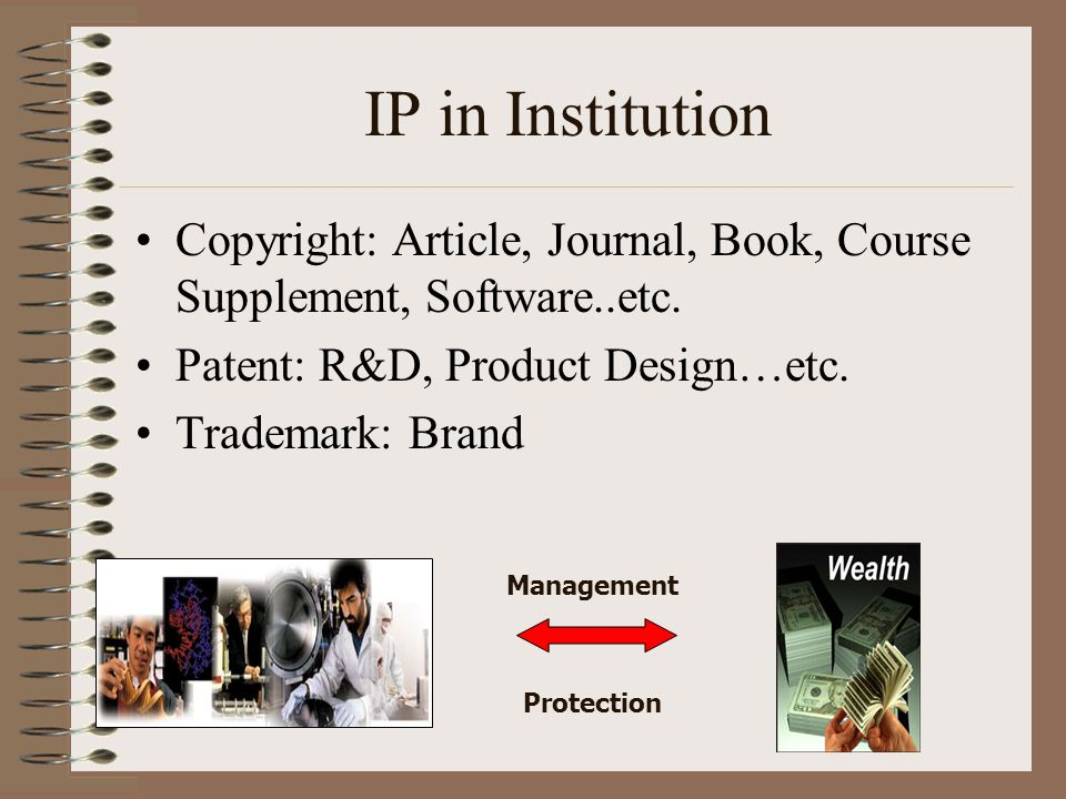 IP in Institution Copyright: Article, Journal, Book, Course Supplement, Software..etc. Patent: R&D, Product Design…etc.
