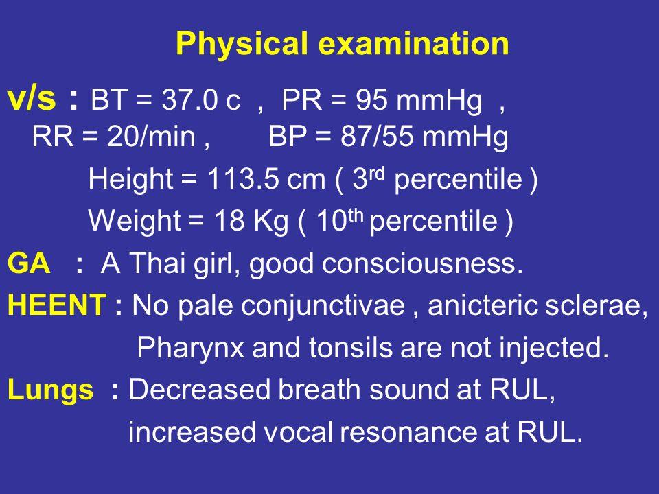 v/s : BT = 37.0 c , PR = 95 mmHg , RR = 20/min , BP = 87/55 mmHg