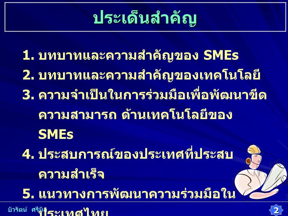 1. บทบาทและความสำคัญของ SMEs