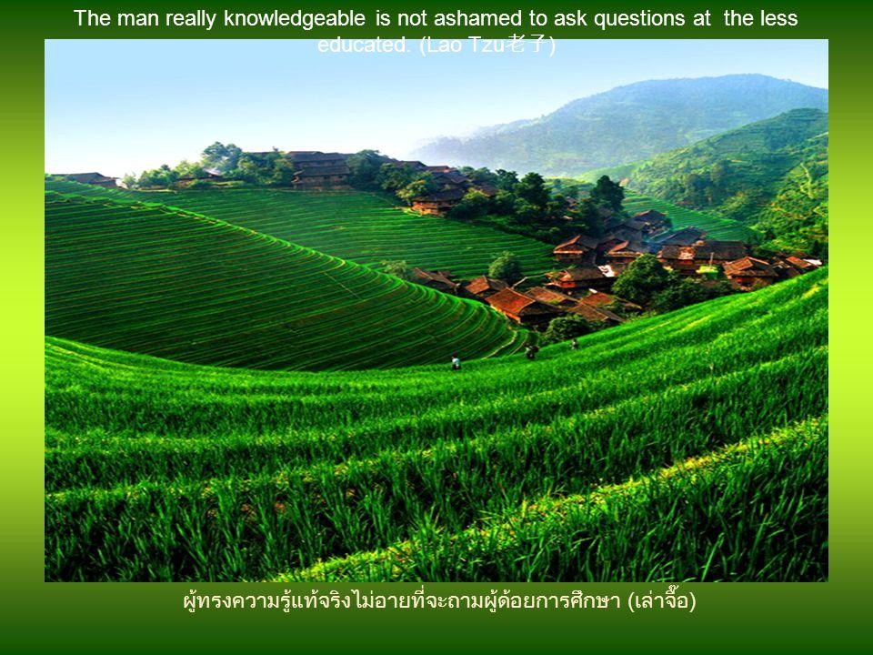 ผู้ทรงความรู้แท้จริงไม่อายที่จะถามผู้ด้อยการศึกษา (เล่าจื๊อ)