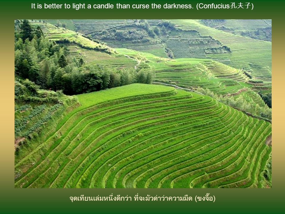 It is better to light a candle than curse the darkness. (Confucius孔夫子)