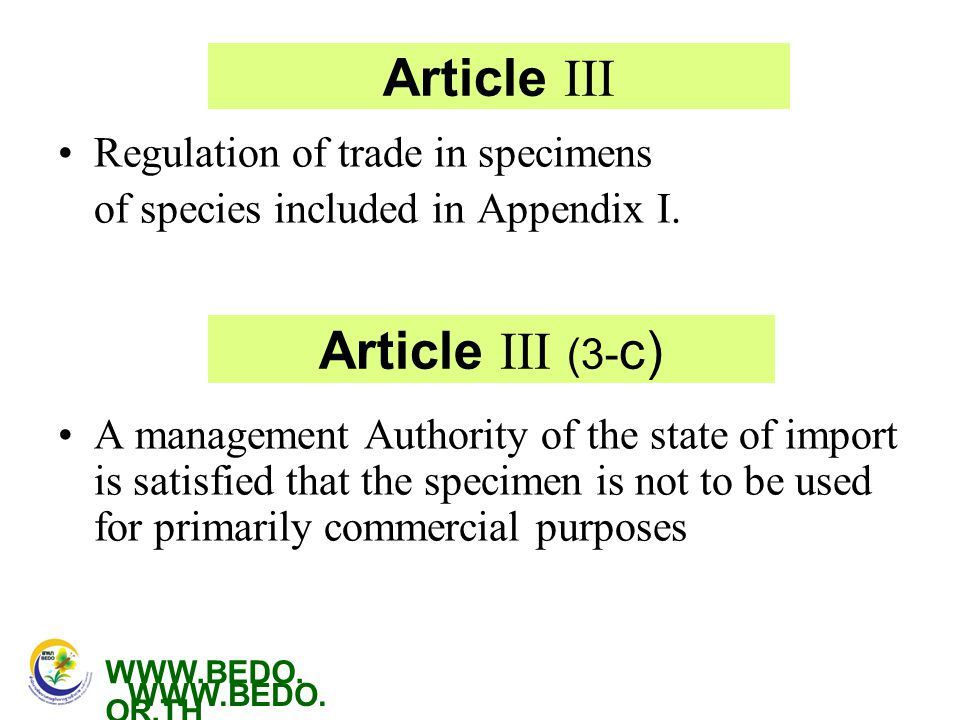 Article III Article III (3-c) Regulation of trade in specimens