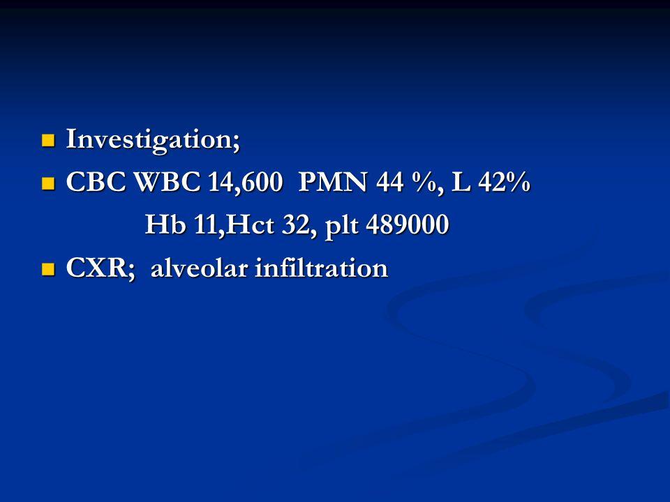 Investigation; CBC WBC 14,600 PMN 44 %, L 42% Hb 11,Hct 32, plt 489000 CXR; alveolar infiltration