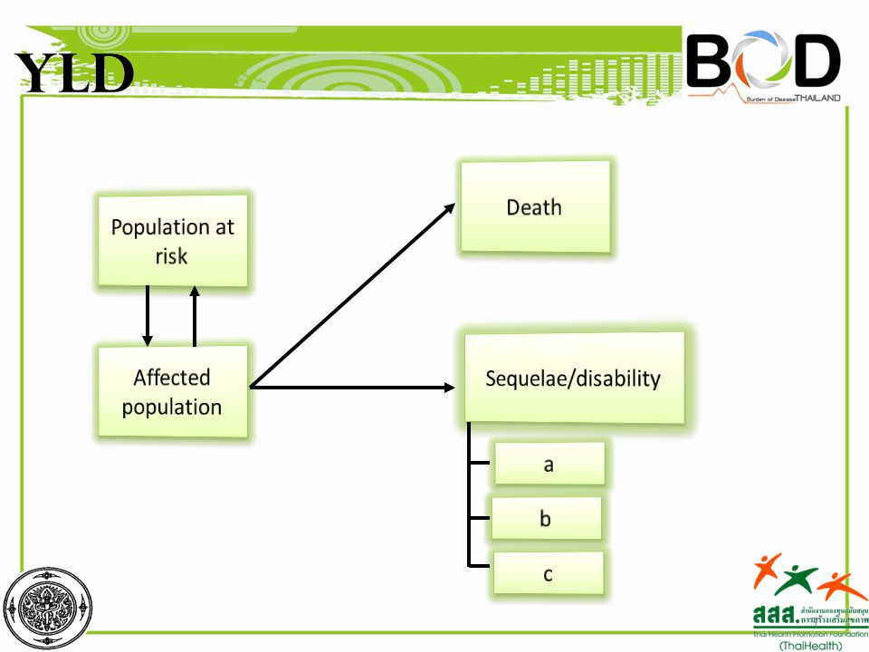 YLD Death Population at risk Sequelae/disability Affected population a