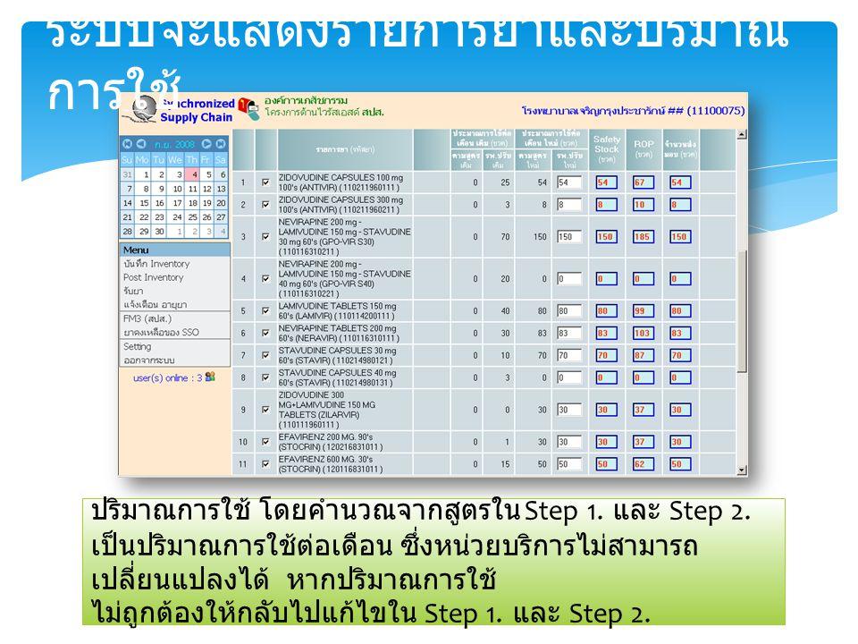 ระบบจะแสดงรายการยาและปริมาณการใช้