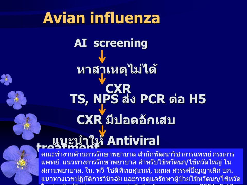Avian influenza TS, NPS ส่ง PCR ต่อ H5 CXR มีปอดอักเสบ