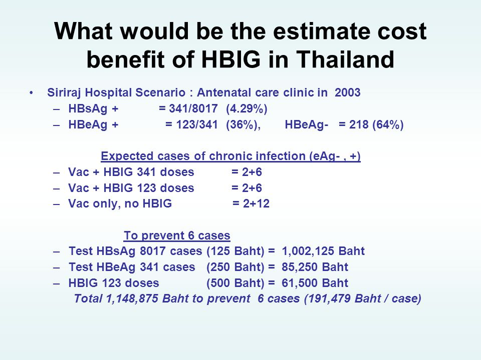 What would be the estimate cost benefit of HBIG in Thailand
