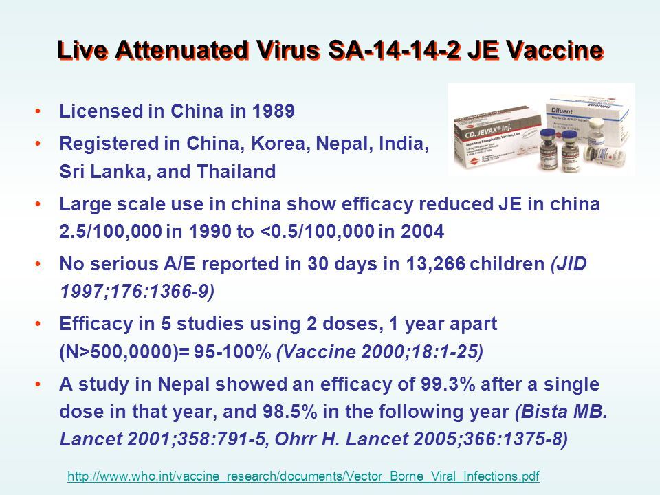 Live Attenuated Virus SA-14-14-2 JE Vaccine