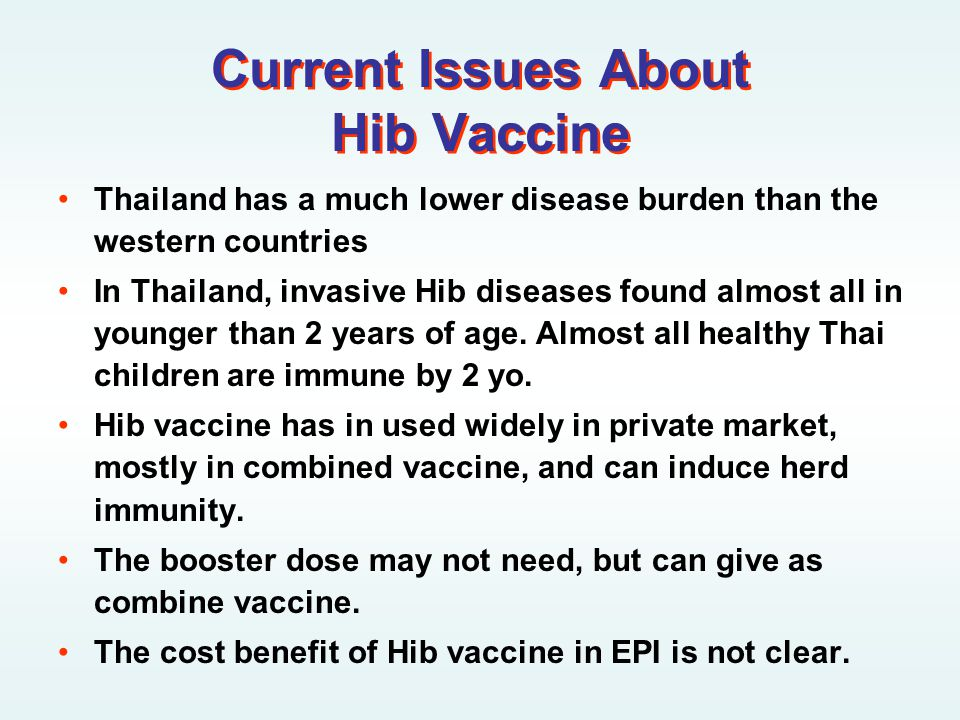 Current Issues About Hib Vaccine